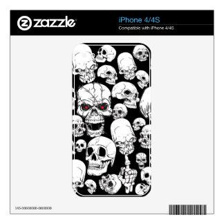 Cráneos agrupados blancos iPhone 4S skin