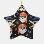 Cráneos alegres del pirata de Rogelio Adorno De Cerámica En Forma De Estrella