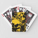 Cráneos amarillos del Grunge Baraja De Cartas