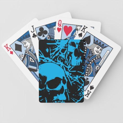 Cráneos azules del Grunge Cartas De Juego