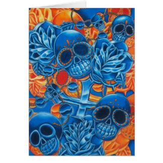 Cráneos azules y anaranjados tarjeta de felicitación