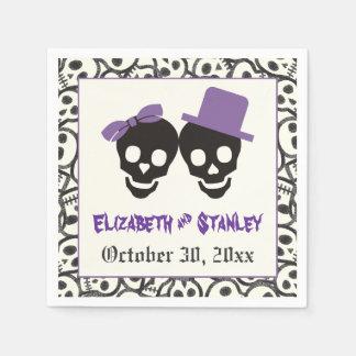 Cráneos boda púrpura y negro de Halloween de la Servilleta De Papel