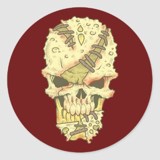 cráneos calaveras desmoronando rotten skull pegatina redonda
