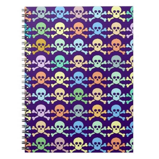 cráneos coloreados pirata libros de apuntes con espiral