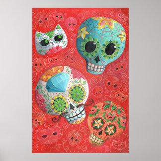 Cráneos coloridos del azúcar impresiones