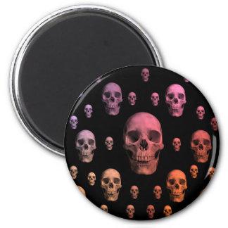 Cráneos coloridos punkyes góticos lindos imán redondo 5 cm