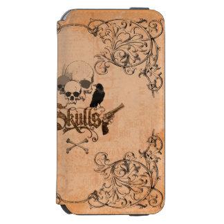Cráneos con el cuervo funda billetera para iPhone 6 watson