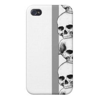 Cráneos con la caja gris del iPhone de la raya iPhone 4 Carcasa