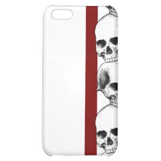 Cráneos con la caja roja del iPhone de la raya