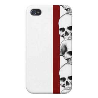 Cráneos con la caja roja del iPhone de la raya iPhone 4/4S Carcasa