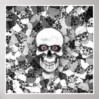 Cráneos con los ojos póster