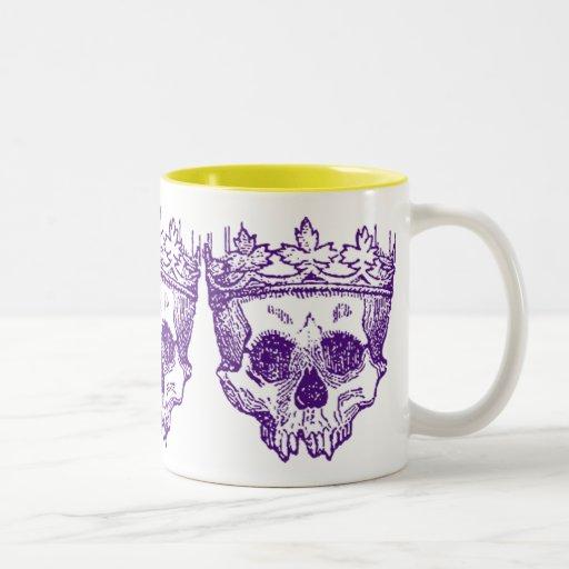 Cráneos coronados vintage taza de café