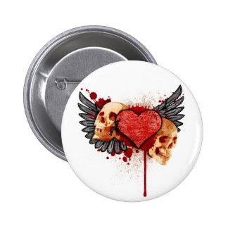Cráneos de la Anti-Tarjeta del día de San Valentín Pin Redondo De 2 Pulgadas