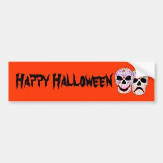 Cráneos de la Comedia-Tragedia de Halloween DOTD Pegatina De Parachoque