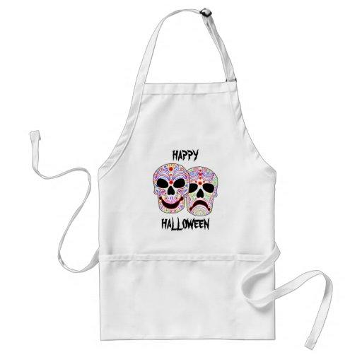 Cráneos de la Comedia-Tragedia de Halloween DOTD Delantal