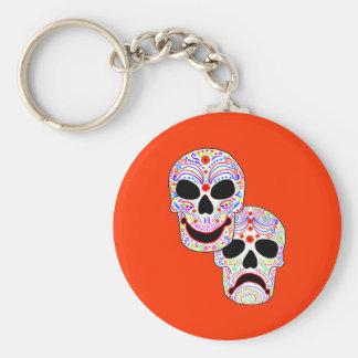 Cráneos de la Comedia-Tragedia de Halloween DOTD Llavero Redondo Tipo Pin