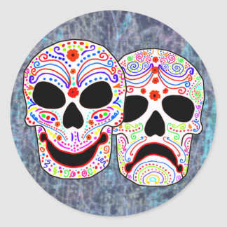 Cráneos de la Comedia-Tragedia de Halloween DOTD Pegatina Redonda