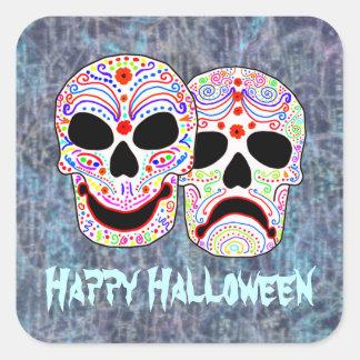 Cráneos de la Comedia-Tragedia de Halloween DOTD Pegatina Cuadrada