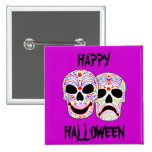 Cráneos de la Comedia-Tragedia de Halloween DOTD Pin