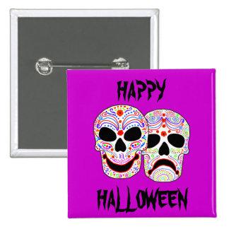 Cráneos de la Comedia-Tragedia de Halloween DOTD Pin Cuadrada 5 Cm