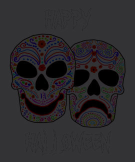 Cráneos de la Comedia-Tragedia de Halloween DOTD Camiseta