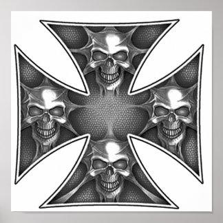 Cráneos de la cruz del hierro impresiones