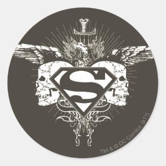 Cráneos de la oscuridad del superhombre pegatina redonda