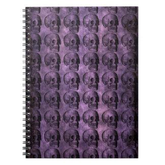 cráneos de la púrpura del grunge libretas espirales