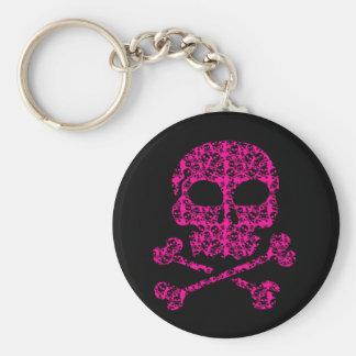 Cráneos de las rosas fuertes y del negro para llavero redondo tipo pin