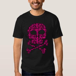 Cráneos de las rosas fuertes y del negro para remera