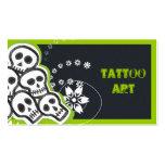 Cráneos de las tarjetas de visita del arte del tat