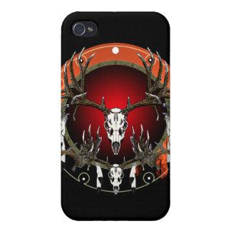 Cráneos de los ciervos en rojo iPhone 4/4S carcasas