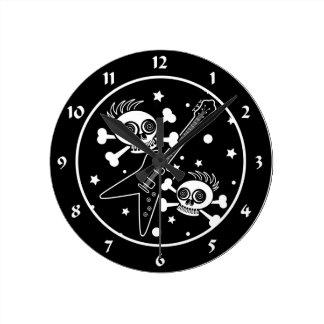 Cráneos de metales pesados reloj de pared