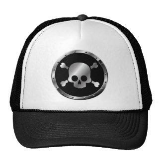 Cráneos de plata en círculos del negro gorros bordados
