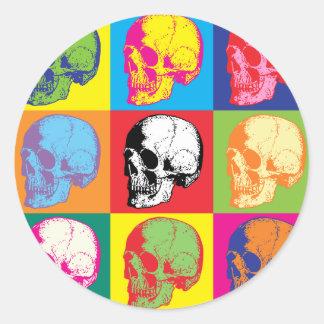 Cráneos de Popart Pegatinas Redondas