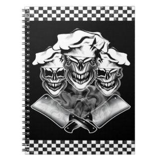 Cráneos de risa del cocinero libros de apuntes con espiral