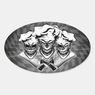 Cráneos de risa del cocinero pegatina ovalada