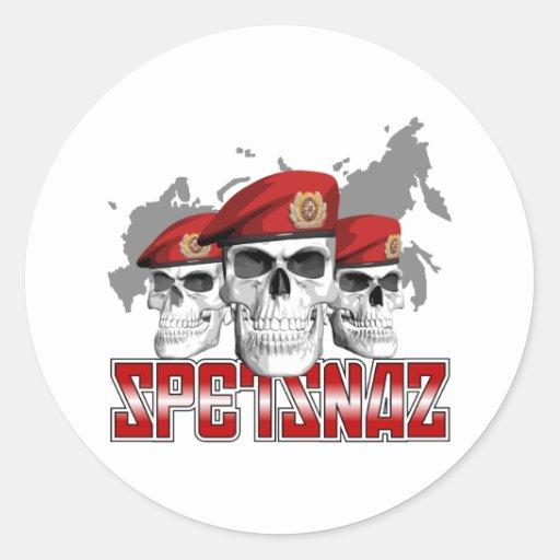 Cráneos de Spetsnaz Pegatina Redonda