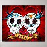 Cráneos del amor con el poster/la impresión de los