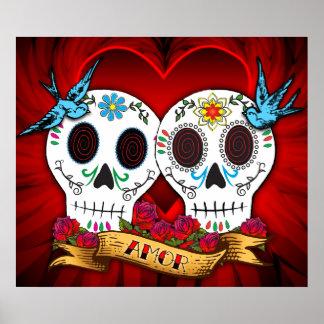 Cráneos del amor con el poster la impresión de los