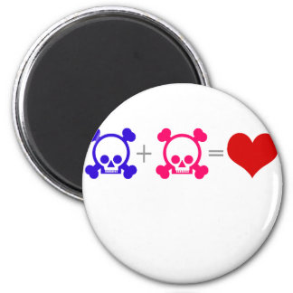 Cráneos del amor imán redondo 5 cm