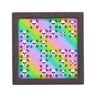 Cráneos del arco iris cajas de recuerdo de calidad