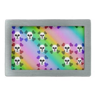 Cráneos del arco iris hebillas cinturón rectangulares