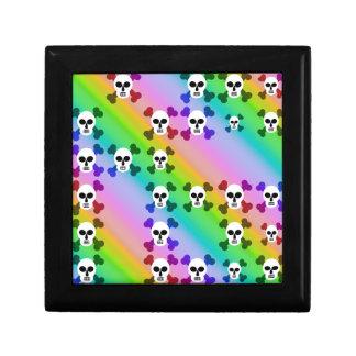 Cráneos del arco iris joyero cuadrado pequeño
