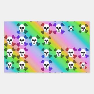Cráneos del arco iris pegatina rectangular
