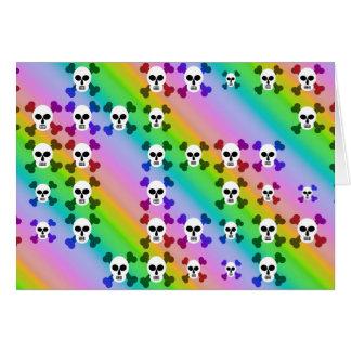 Cráneos del arco iris tarjeta de felicitación