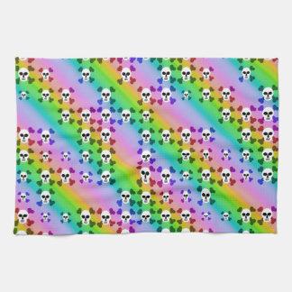 Cráneos del arco iris toallas de mano