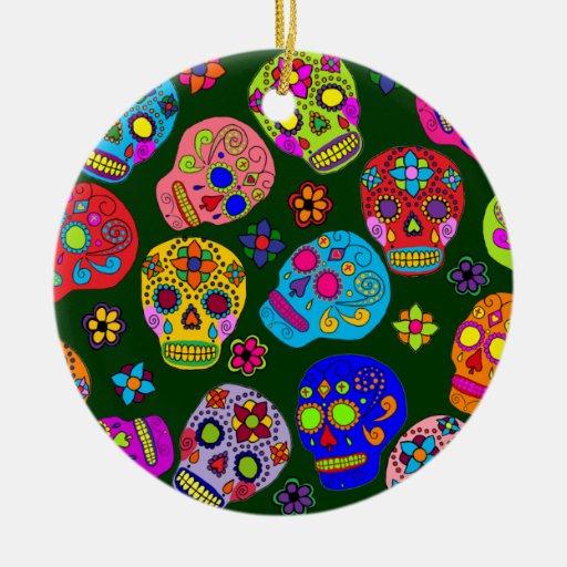 Cráneos del azúcar adorno navideño redondo de cerámica