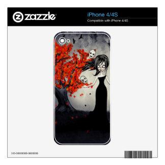 Cráneos del azúcar del chica del zombi que hacen j calcomanías para el iPhone 4S