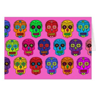 Cráneos del azúcar del hombre y de la mujer tarjeta de felicitación